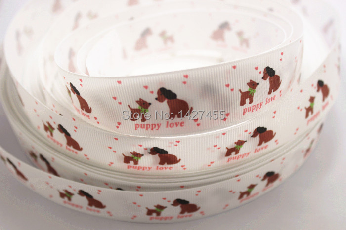 new arrival hot sale 50yards/lot 125mm white puppy love dog pink heart printed grosgrain ribbon