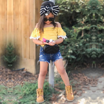 2PCS/Set Summer Baby Girls Clothing Set Yellow Lace Off Shoulder Top+Shorts for Girls 2-7T DB479 1