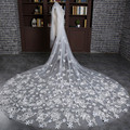 Cheap Wholesale Velos De Novia Bridal Veil White Tulle With Comb Flower Cathedral Wedding Veils Accessories Bridal Gowns VL008