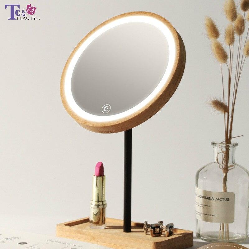 Bureau en bois miroir de maquillage à LED Usb charge 360 degrés rotatif réglable lumineux diffuse lumière écran tactile beauté miroirs