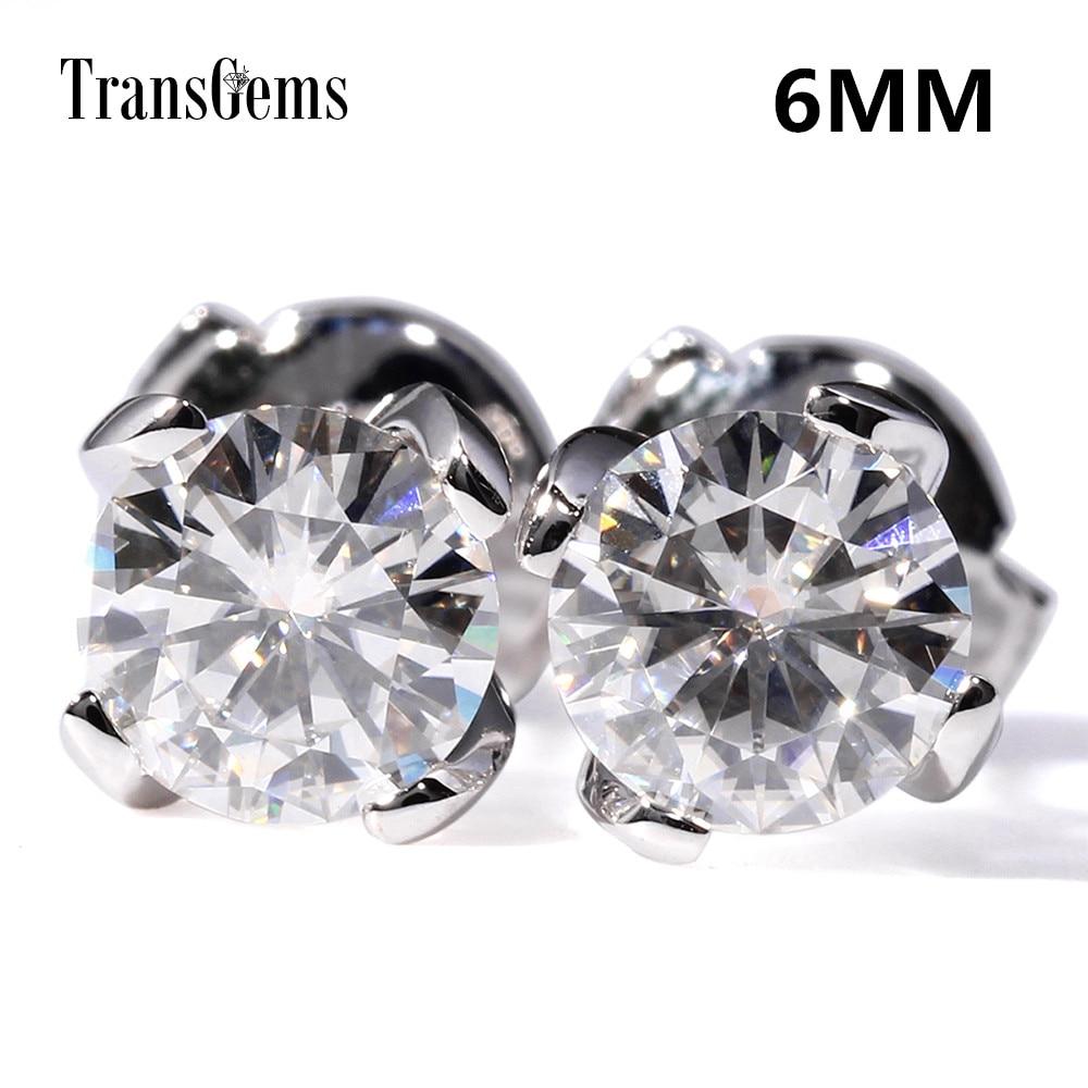 Transgems Center 0.8ct 6MM F Color Moissanite Diamond 14K 585 White Gold 1.6CTW Stud Earrings Push Back for Women Gift