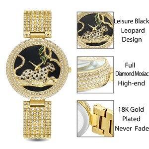 Image 2 - MISSFOX Black Elegant Leopard In Tree Mk Stainless Steel Import Japan Movt Analog Fashion Gold Women Watches Quartz Golden Clock