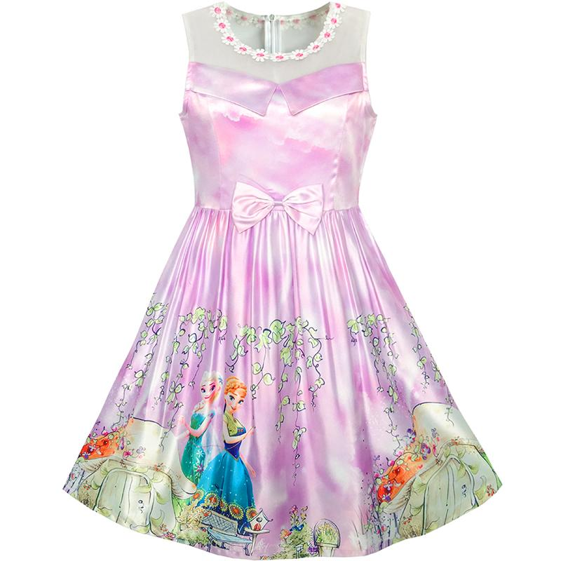 Sunny Fashion Girls Dress Elsa Anna Cartoon Lace Birthday Party Princess 2017 Summer Wedding Dresses Girl Clothes Size 5-12 sunny fashion girls dress butterfly party birthday sundress 2017 summer princess wedding dresses kids clothes size 5 12 pageant