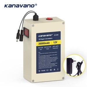 Kanavano bateria de íon de lítio recarregável dc12v de grande capacidade 18650 12.6v 10ah 20ah26650 enviar carregador com bms usb