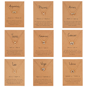 Rinhoo New Style 12 Constellation Pendant Necklace With Card Zodiac Sign Gold Necklace Women Men Birthday Jewelry Gifts