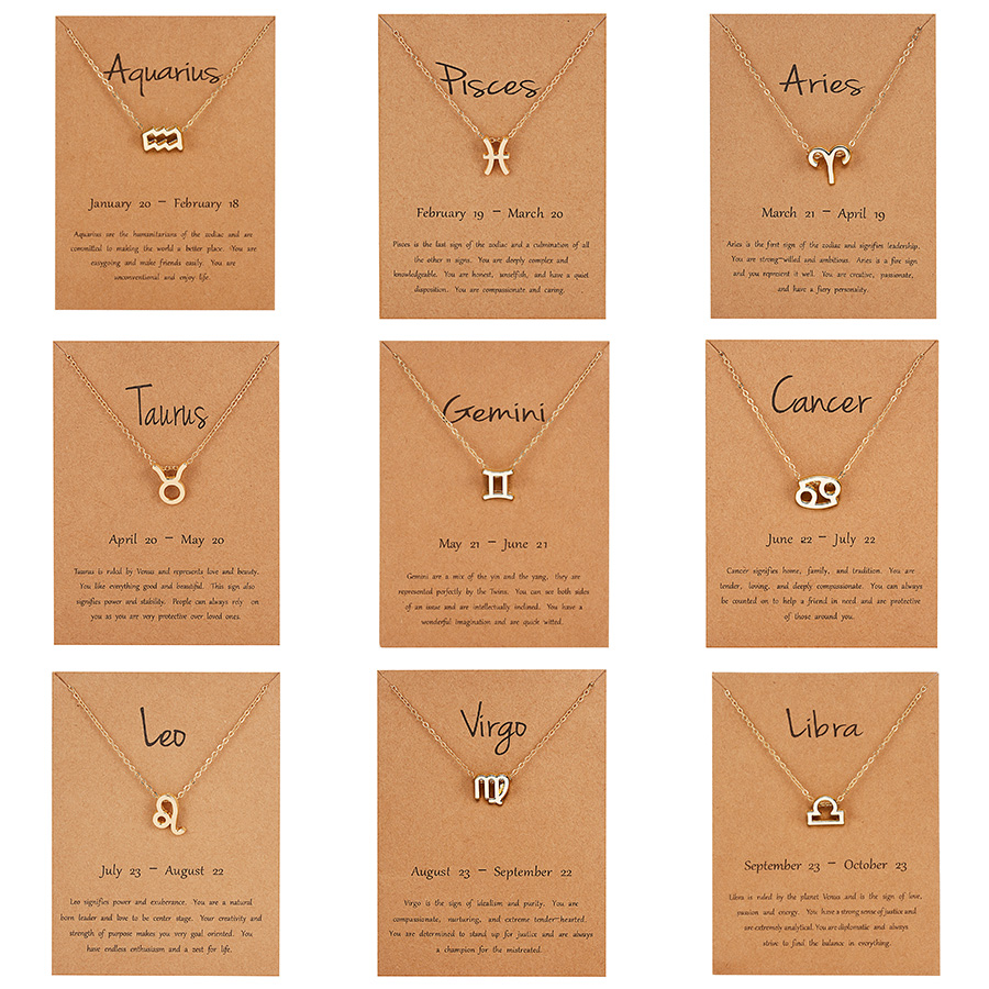 Rinhoo New Style <font><b>12</b></font> <font><b>Constellation</b></font> <font><b>Pendant</b></font> <font><b>Necklace</b></font> With Card <font><b>Zodiac</b></font> <font><b>Sign</b></font> Gold <font><b>Necklace</b></font> Women Men Birthday Jewelry Gifts image