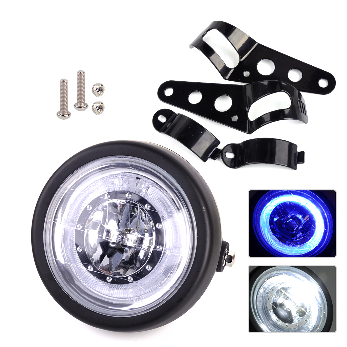 DWCX 12V LED Retro Headlight Lamp Vintage Round Light for Honda Motorcycle Chopper Cafe Racer Harley Bobber Chopper Dirt Bike