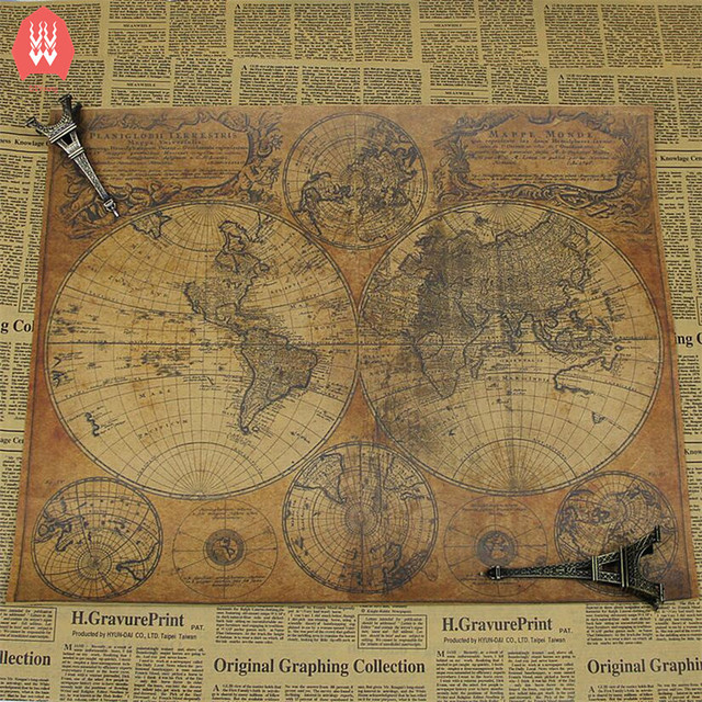 Large Size Vintage Kraft Paper Retro 1746 World Map Poster Matte ...
