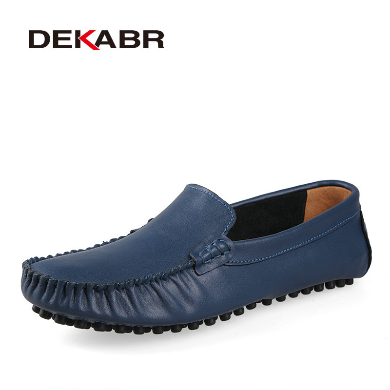 DEKABR New 2018 Men Genuine Leather Flats Fashion Men Casual Shoes Moccasins Loafers Quality Drivng Shoes Zapatos Big Size 35~47 hot sale mens italian style flat shoes genuine leather handmade men casual flats top quality oxford shoes men leather shoes
