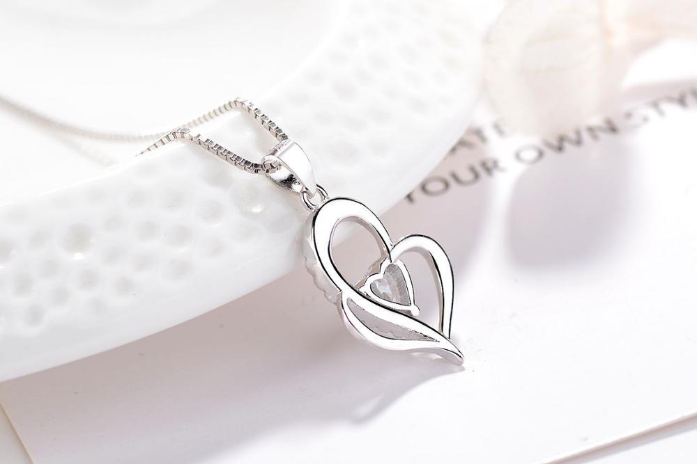 S925 sterling silver sea blue love zircon pendant Korean fashion wild necklace in Pendants from Jewelry Accessories