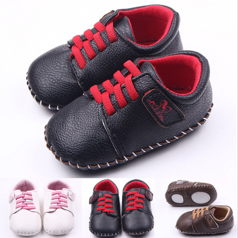 Купить с кэшбэком Baby boy girl fine PU hand stitching soft bottom baby shoes pedometer shoes learning walking shoes first walk Toddler shoes xz88
