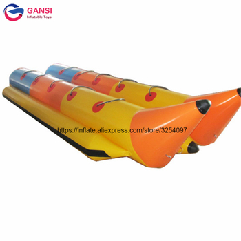 Funny water sport game flying fish tube,double towable banana boat, 5.1*2.04m inflatable banana boat for sale 0 9mm pvc tarpaulin 6 seat version inflatable floating flying fish towable tube inflatable water game flyfish banana boat