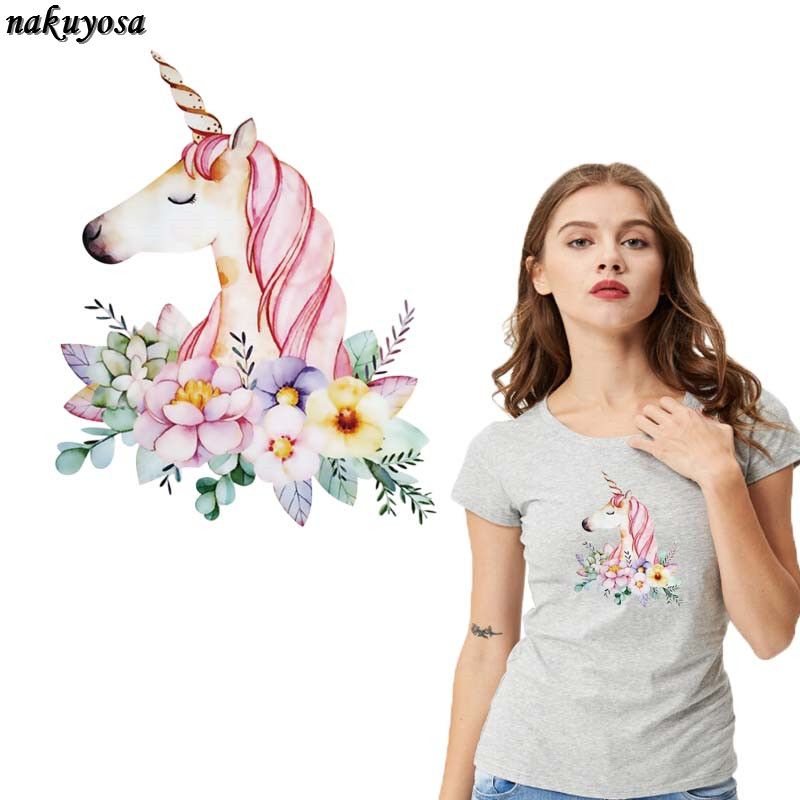 Flowery Unicorn horse Patch Flower Patches For Clothes T-shirt Dresses Sweater Transfer Applique DIY Decoration For Girls23*18CM