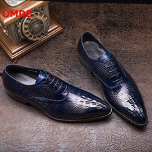OMDE Crocodile Pattern Genuine Leather Oxford Shoes For Men Breathable Pointed Toe Lace-up Mens Dress Shoes Brand Wedding Shoes цена