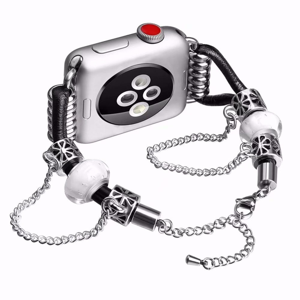 Charms Beads Bracelet Watchband for Apple Watch Band Womens luxurious Strap for iWatch Seies 1/2/3 42mm 38mm Smart Watch Band