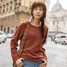 INMAN 2019 Spring Autumn Women Female Girl Basic Knitwear Fashion Off Shoulder Style Lady Ladies Causal Pullover Knitted Sweater