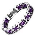 Estilo de pulsera de silicona de acero Inoxidable de los hombres pulsera de cadena de bicicleta venta caliente púrpura negro encanto de La Moda masculina