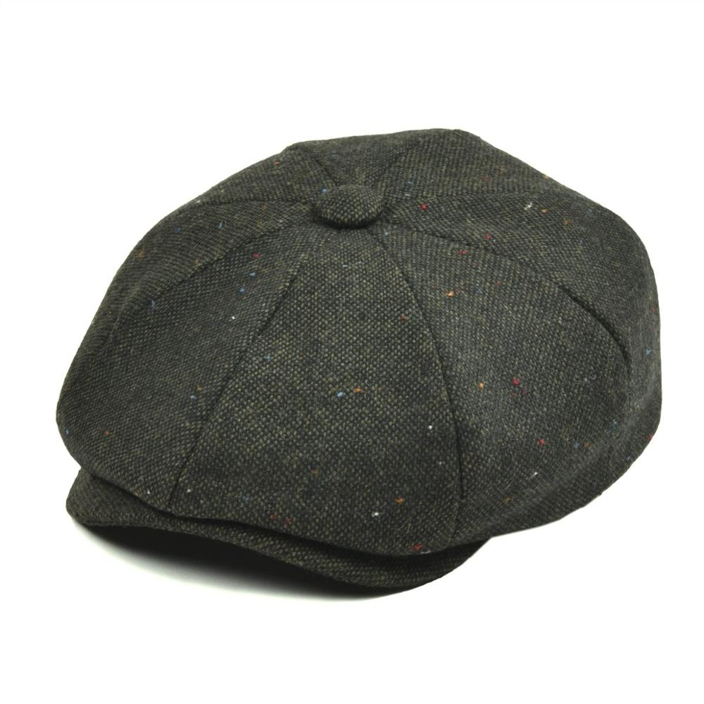 VOBOOM Wool Tweed Men Women Newsboy 8 Panel Flat Cap Spring Autumn Breathable Gatsby Ivy Cabbie Hat With Silk Lining 132