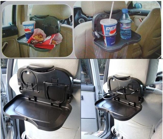 Universal Auto Car Back Seat Table Drinks Folding Cup Holder Stand Desk Black Multifuntional Trays