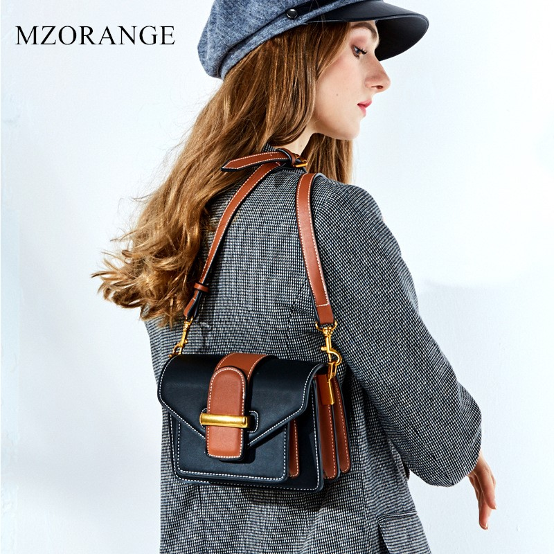MZORANGE New Fashion design Women's handBags for Genuine Leather Shoulder Bag Casual Cowhide Ladies Crossbody Bag small Flap bag mzorange fashion genuine leather women handbag vintage hit color design ladies shoulder crossbody bag metal chain small flap bag
