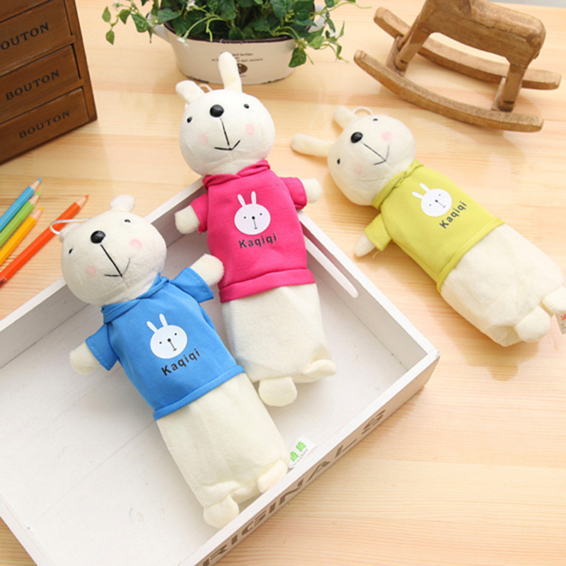Bunny Pencil Case Creative Roomy Pencil Cases Stationery Child Plush Toy Student Prize Simple Cartoon Ornament Pencil Case