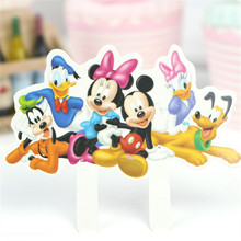 24pcs Princess Mickey Cake Toppers Cupcake Accessory Tutu Table Party Supplies Birthday Decorations Kids