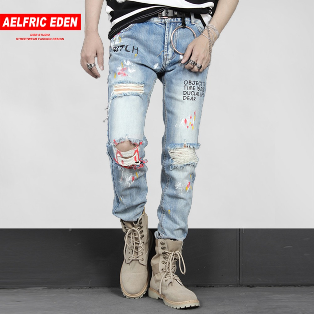Aelfric Eden Mens Biker   Jeans   Fashion Casual Pants Graffiti Ripped Hole 2018 Distressed Slim Denim   Jean   Hip Hop Streetwear PA243