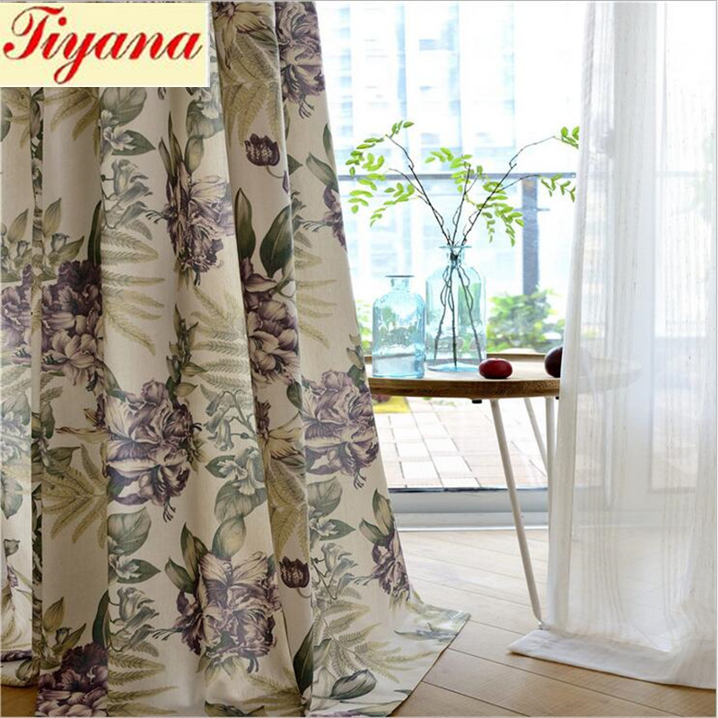 Plant Cloth Curtain Green Leaf Pattern Blackout Curtains for Bedroom Polyester Cotton Comfortable Curtains Set Pleated Su338 *30