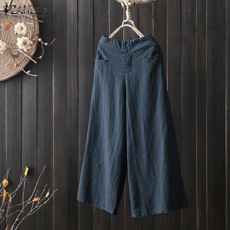 2018 ZANZEA Women Casual   Wide     Leg     Pants   Oversized Elastic Waist Pantalon Vintage Linen Baggy Trousers Lady Button Work Long   Pant