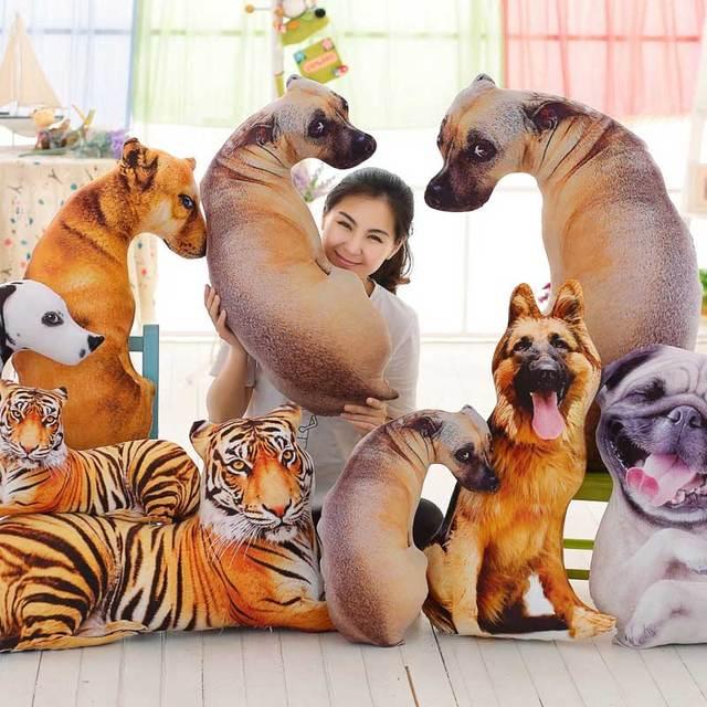 Lovely Pillow Cushion Simulation 3d Dog Plush Toy Animal Cartoon