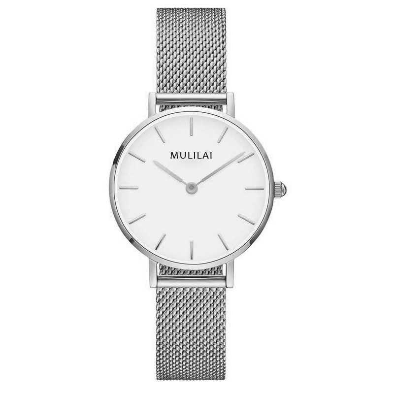 32 мм Роскошные Брендовые женские кварцевые часы со стальным браслетом модные простые женские часы из розового золота dw стиль+ браслет ЖЕНСКИЕ НАРЯДНЫЕ часы - Цвет: Silver-White