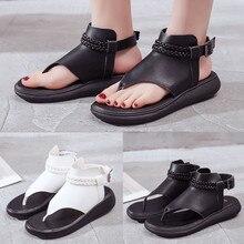 Bonitas sandalias planas Vintage de verano para mujer, zapatillas de playa negras y blancas, Sandalias cómodas, chanclas, zapatos femeninos
