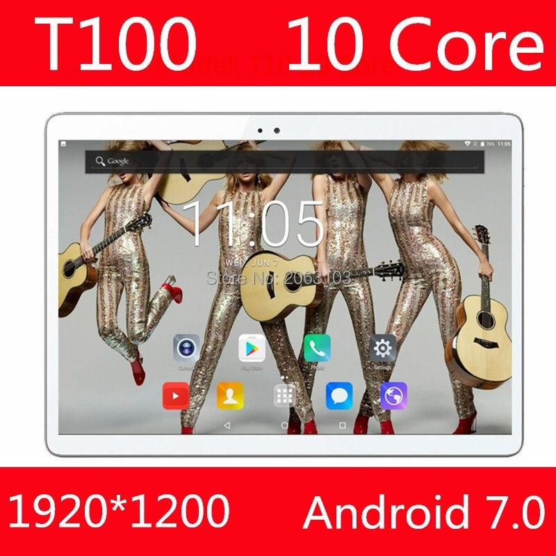 En Stock 100% D'origine T100 Tablet PC 4 gb RAM 128 gb ROM MediaTek MT6797 10 pouce 6000 mah Android 7.0 GPS 8.0 MP Caméra 4g Wifi