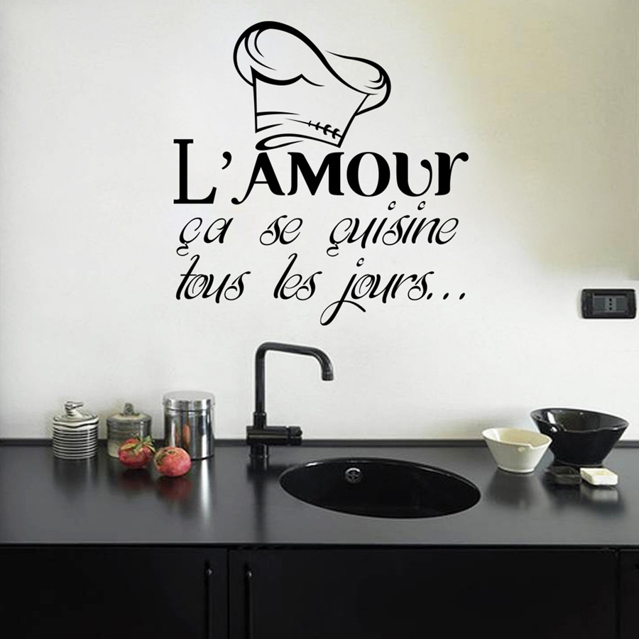 Kililaya Wall Decals Sticker Citation L Amour Cuisine Removable