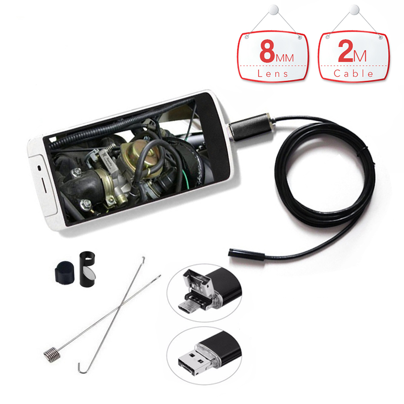 2 in 1 2m Handheld 720P Android PC Endoscope with 8mm 6LED HD micro Camera USB Endoscopy Borescope for Android Phone PC Tablet 7mm lens mini usb android endoscope camera waterproof snake tube 2m inspection micro usb borescope android phone endoskop camera
