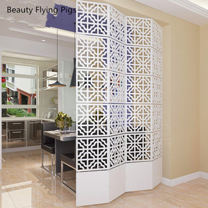 6PCS/LOT 29*29CM Room Divider Screen Partition Modern Biombo Folding Screen Partition Brief Hanging Cutout Curtain customize
