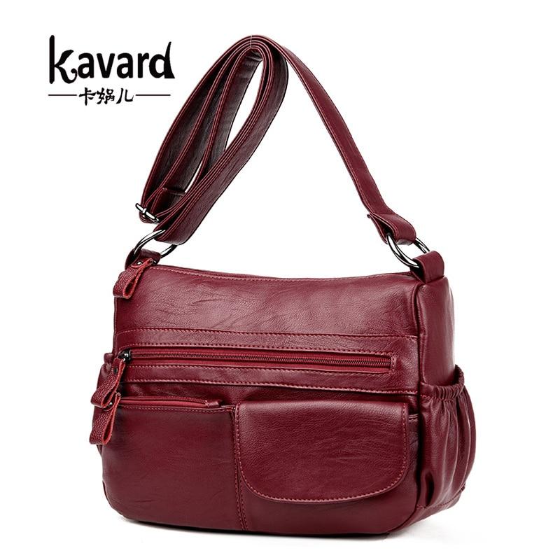 Kavard Brand Women Messenger Bags Shoulder Designer High Quality Leather Bags Women Double Zippers Crossbody