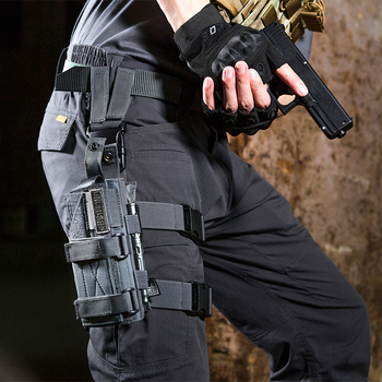 OneTigris Tactical Molle Drop Leg Platform & Handgun Pistol Holster Airsoft Paintball Right Handed Holster 1