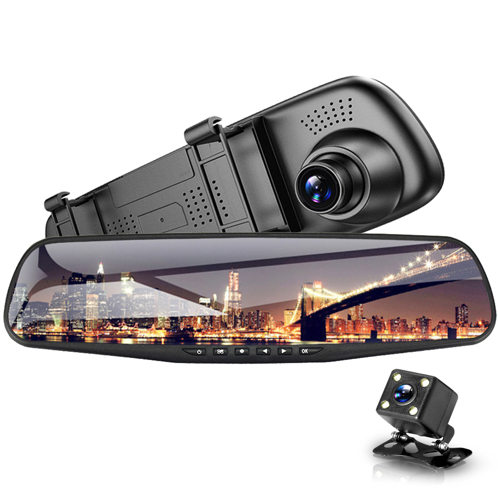 Car DVR Dual Lens Car Camera Full HD 1080P 4.3 inch Video Recorder Rearview Mirror With Rear view DVR Dash cam Auto Registrator 1920 1080p 4 3 lcd dual lens video dash cam recorder car camera dvr 3 in 1 rearview mirror front car dvr rear view camera