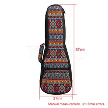 Yibuy  21 Inch Ukulele Fancy Red Pattern Double Shoulder Carry Bag Guitar Backpack Adjustment Belt & Thickened Cotton Handle