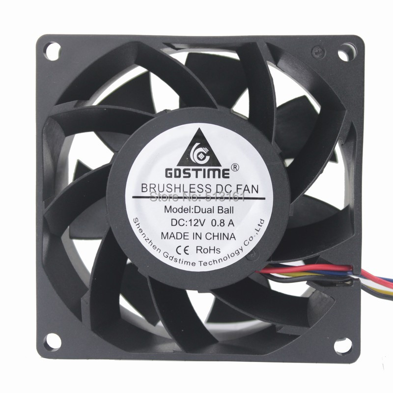 Gdstime 8038 DC 12V Waterproof Ball Bearing PWM 4 Pin 80x80x38mm Server Square Inverter Cooling Fans