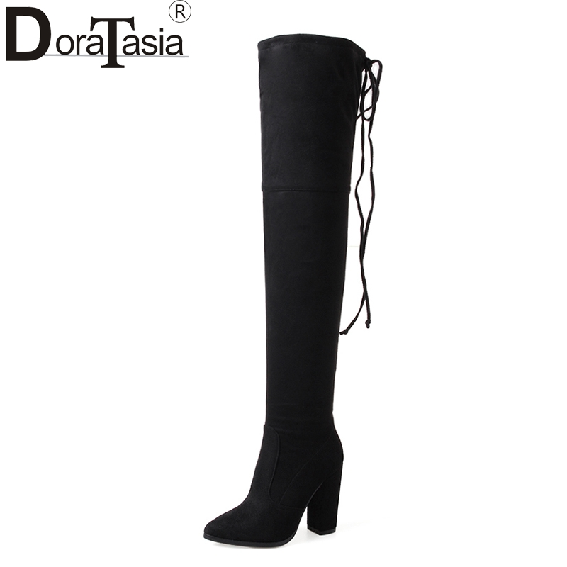 DoraTasia New Arrivals Large Sizes 33-43 2018 Sexy High Heels over-the-knee Boots Women Shoes Woman Black Party Boots doratasia 2017 large size 34 47 sexy riband over the knee thin high heels women shoes super high heel party boots woman platform