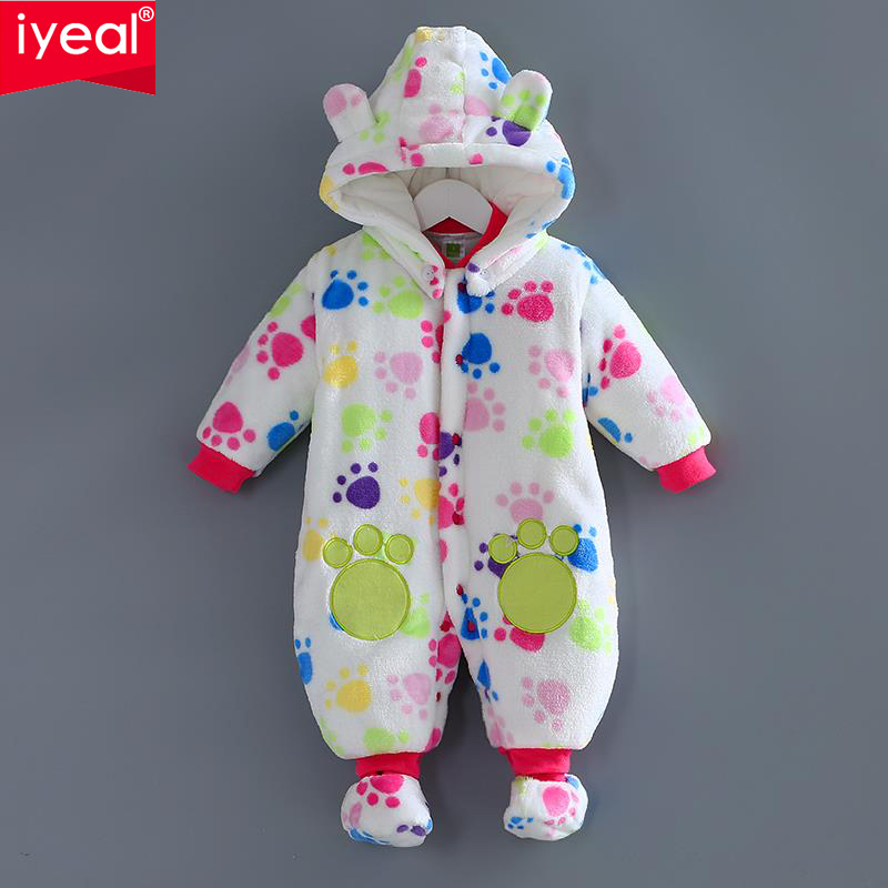 IYEAL Autumn Winter Baby Clothes Flannel Baby Girl Clothes Cartoon Girl Jumpsuit Baby Rompers Newborn Infant Clothing mother nest 3sets lot wholesale autumn toddle girl long sleeve baby clothing one piece boys baby pajamas infant clothes rompers
