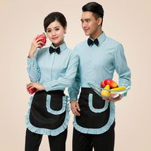 Hotel Uniform Long Sleeve Autumn Fast Food Waiter Uniform Shirt+apron Restaurant Waitress Uniform Coffee Shop Overalls Work Wear(China)