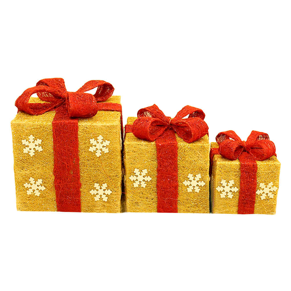Set of 3 Assorted Bowknot Sisal Gift Boxes With Clear Lights Christmas Holiday Decorative Lighted Gift Boxes Indoor/ Outdoor