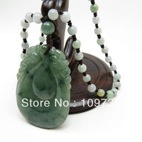 FREE SHIPPING a natural brave troops wishful old crater oil Green the floating flower Ruyi pendant with hand woven necklace