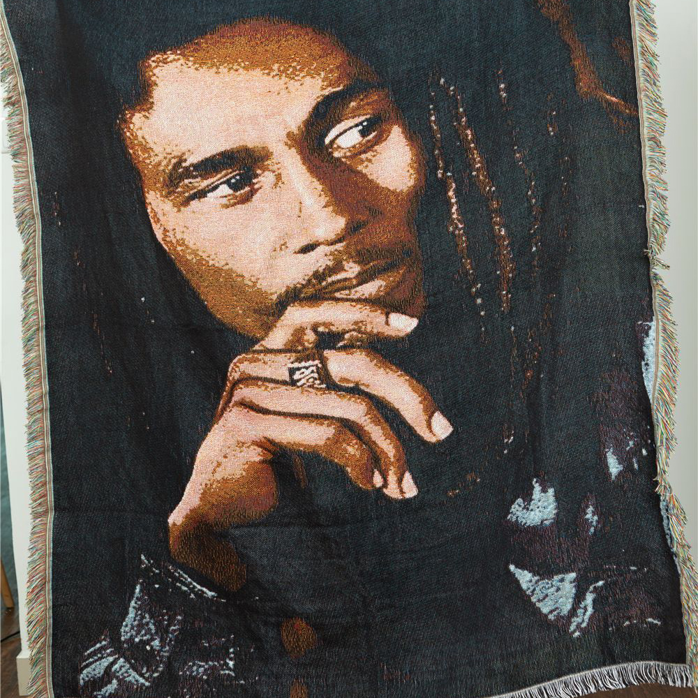 BOB MARLEY Smile Face Wall Hanging Decorate Poster Home Tapestry Textile Cotton