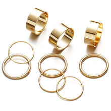 9 Pcs/Set Simple Design Round Gold Silver Color Rings Set For Women Handmade Geometry Finger Ring Female Jewelry