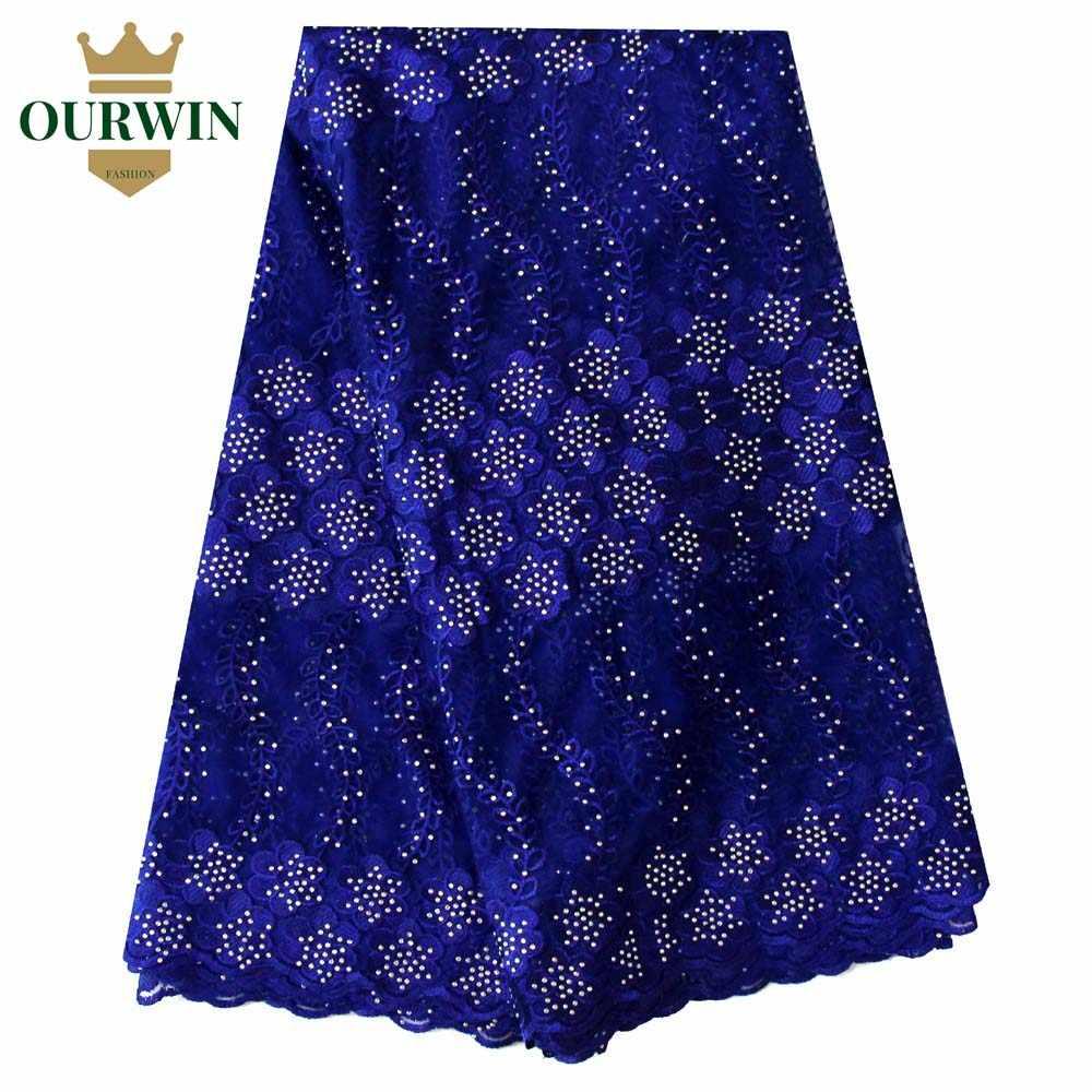 Последние нигерийские кружевные ткани 2019 высокого качества кружевная ткань в африканском стиле для свадебного платья французский Тюль Кружева с бисером порошок синий