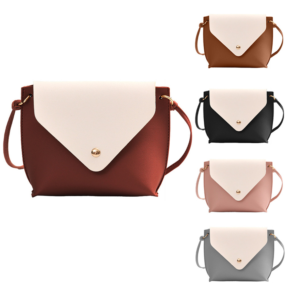 women messenger bags leather Hit Color crossbody bag ladies handbags female purse student Tote Crossbody Bag sac femme